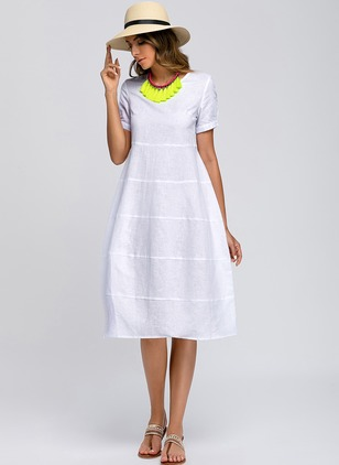 Solid Tshirt Short Sleeve Knee-Length A-line Dress