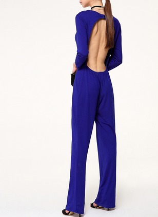 Cotton Solid Long Sleeve Backless Jumpsuits & Rompers