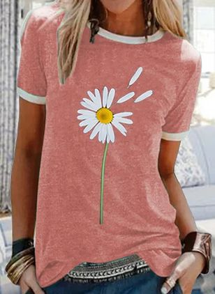 Floral Round Neck Short Sleeve Casual T-shirts (146959897)