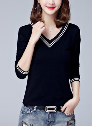 Cotton Stripe V-Neckline Long Sleeve T-shirts