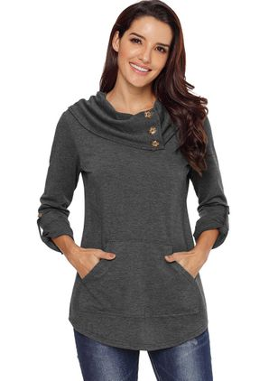 Solid Casual Round Neckline Pockets Buttons Sweatshirts