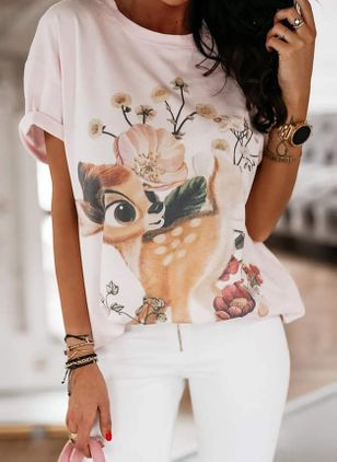 Animal Round Neck Short Sleeve Casual T-shirts (106154411)