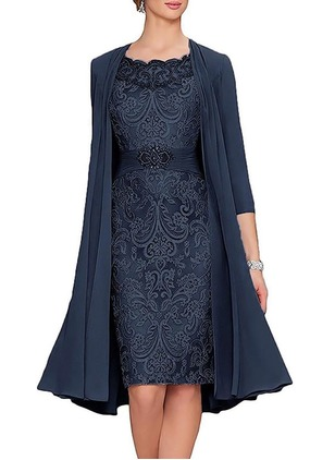 Solid Embroidery Cap Sleeve Knee-Length Sheath Dress