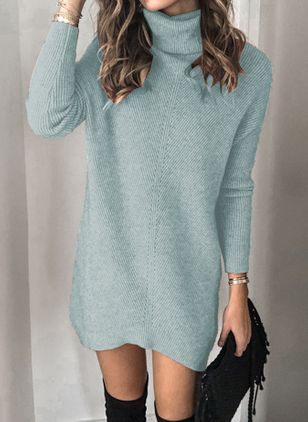 Casual Solid Tunic High Neckline Shift Dress (107561347)