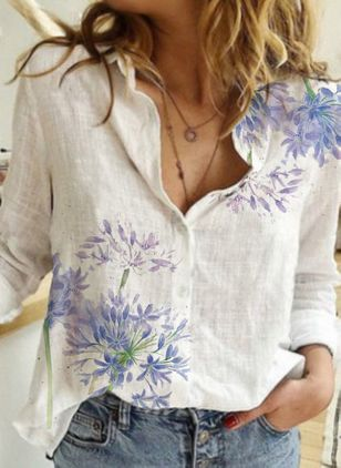 Floral Casual V-Neckline Long Sleeve Blouses (4294193)
