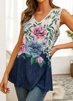 Floral Casual V-Neckline Sleeveless Blouses (147036256)