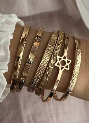 Boho Geometric No Stone Bangle Bracelets (4072113)