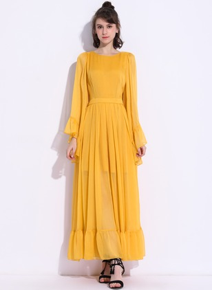 Polyester Solid Long Sleeve Maxi Casual Dresses