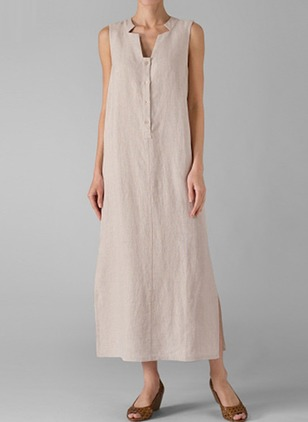 Solid Buttons Sleeveless Midi Shift Dress