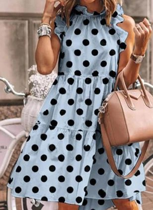 Casual Polka Dot Tunic Round Neckline Shift Dress (4355679)