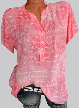 Floral V-Neckline Short Sleeve Casual T-shirts (4043541)