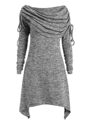 Casual Solid Tunic Draped Neckline A-line Dress (104701680)