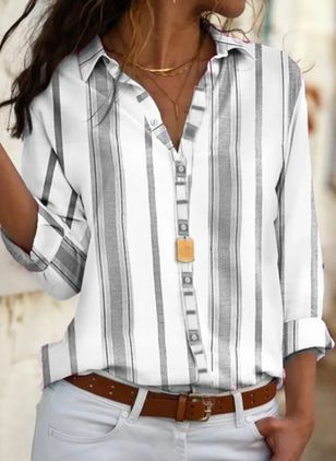 Stripe Casual Collar Long Sleeve Blouses (146781108)