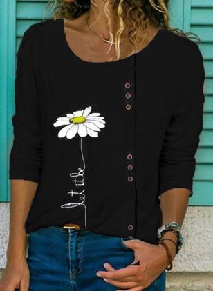 Floral Round Neck Long Sleeve Casual T-shirts (5243294)