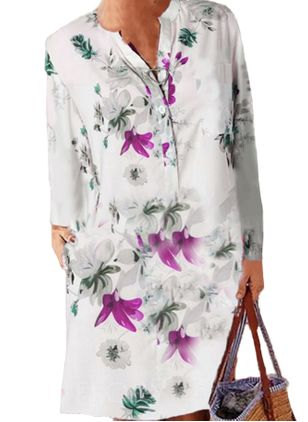 Casual Floral Tunic V-Neckline Shift Dress (100547256)