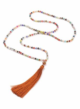 Casual Tassel Ball Gemstone Pendant Necklaces (4048203)