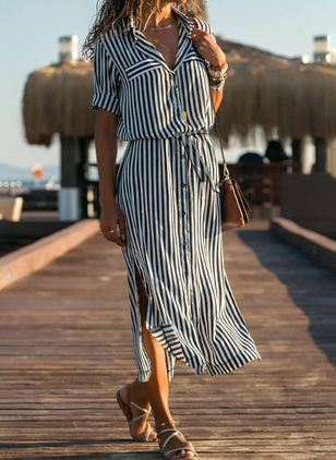 Casual Stripe Shirt Collar X-line Dress (1527298)