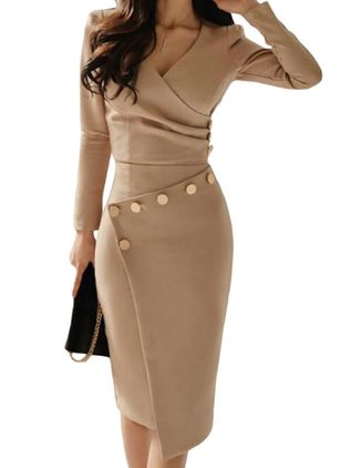 Casual Solid V-Neckline Knee-Length Sheath Dress (146683823)