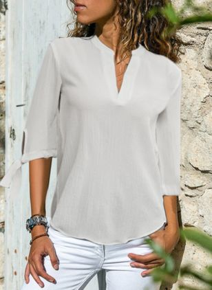 Solid Casual V-Neckline 3/4 Sleeves Blouses (146945904)