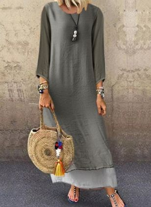 Casual Color Block Tunic Round Neckline Shift Dress (101985849)