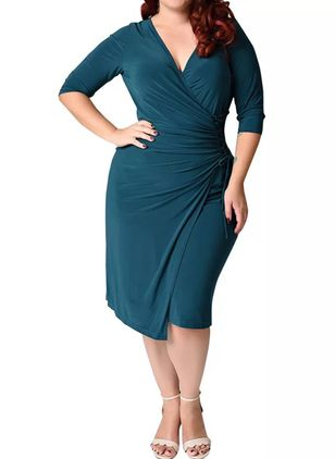 Plus Size Plain V-nek Casual Sjerpen Midi Plus Jurken (1524862)
