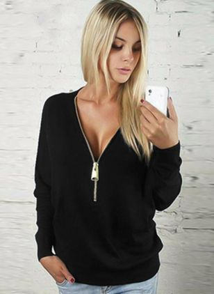 V-Neckline Solid Regular Zipper Sweaters