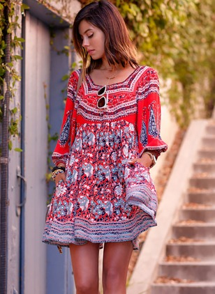 Floral 3/4 Sleeves Mini A-line Dress