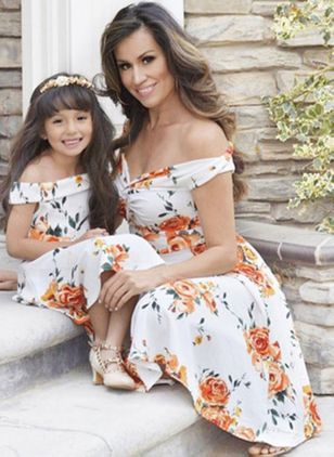 Mommy and Me Floral Vintage Short Sleeve Family Outfits (4209114)