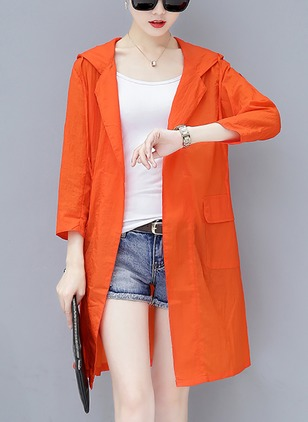 Polyester 3/4 Sleeves Hooded Coats