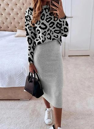 Elegant Leopard Pencil Round Neckline Bodycon Dress (146907766)