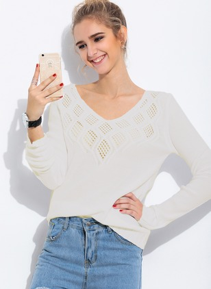 Acrylic V-Neckline Solid Loose Hollow Out Sweaters