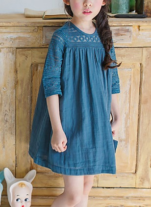 Girls' Solid Daily Half Sleeve Dresses