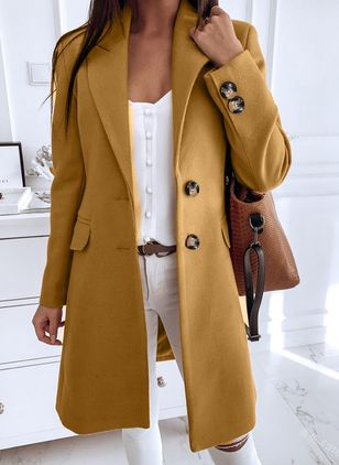 Long Sleeve Buttons Trench Coats (146896988)