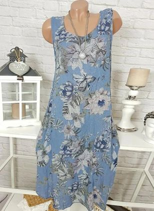 Casual Floral Tunic Round Neckline A-line Dress (4073491)