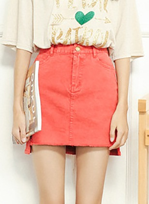 Cotton Solid Above Knee Casual Red Black Skirts