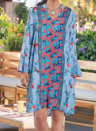 Casual Floral Tunic V-Neckline Shift Dress (147209739)