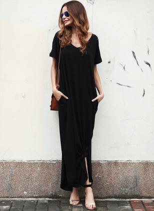 Solid V-Neckline Short Sleeve Maxi Shift Dress