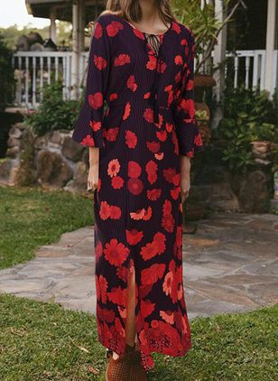 Casual Floral Round Neckline Maxi X-line Dress (146775355)
