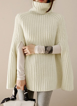 Cotton High Neckline Solid Bat Shirt Others Sweaters
