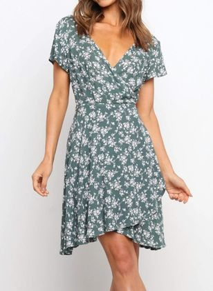Casual Floral V-Neckline Above Knee A-line Dress (147210269)