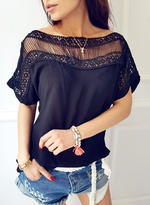 Solid Casual Polyester Boat Neckline Short Sleeve Blouses