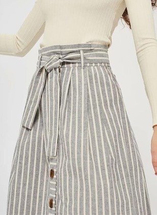 Cotton Stripe Mid-Calf Buttons Skirts