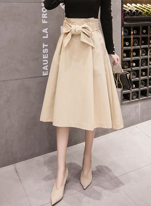 Solid Mid-Calf Elegant Bow Skirts