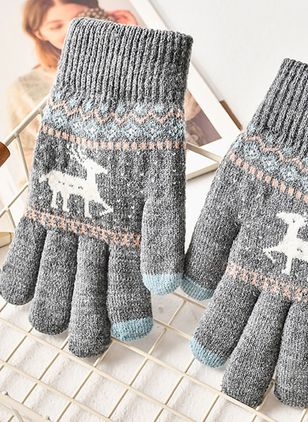 Women's Christmas Knitted Gloves & Mittens Windproof Fit Comfort Soft Slim Thick Gloves (146712515)