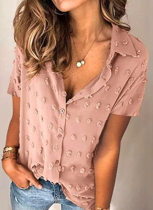 Solid Casual Collar Short Sleeve Blouses (147209896)