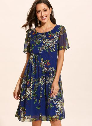 Casual Floral Others Round Neckline X-line Dress (1321266)