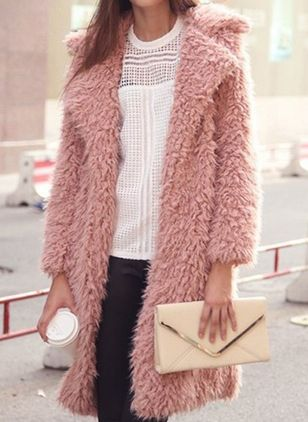 Long Sleeve Lapel Removable Fur Collar Sweaters Coats (107562620)
