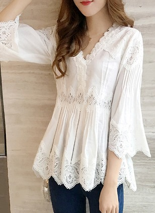 Solid Casual Lace V-Neckline Long Sleeve Blouses
