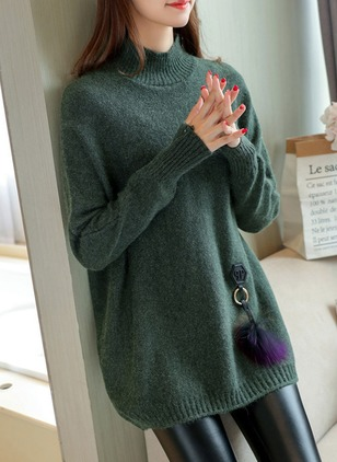 Cotton High Neckline Solid Oversized Others Sweaters