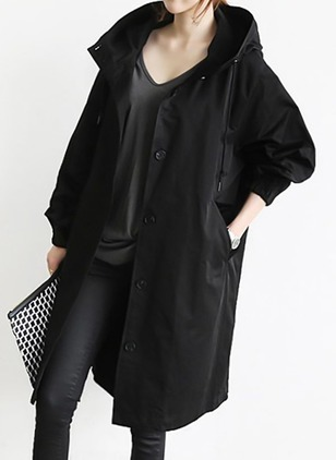 Long Sleeve Hooded Buttons Pockets Trench Coats